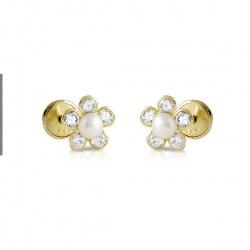 Flor con circonitas y perla
